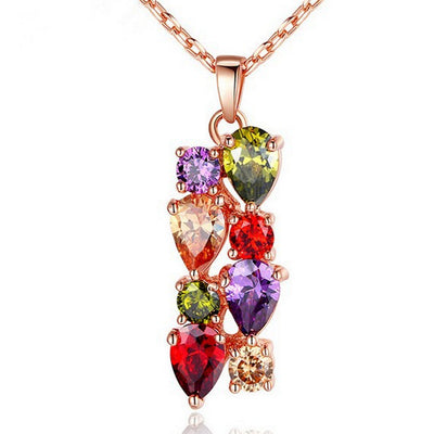 Sukkhi Appealing Crystal Multi Colour Gold Plated Pendant for Women