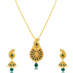 Sukkhi Marquise Gold Plated Green Studded Stone Pendant Set For Women