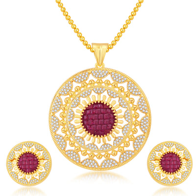 Pissara Glamorous Invisible Setting Gold Plated CZ Pendant Set For Women