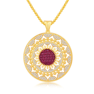 Pissara Glamorous Invisible Setting Gold Plated CZ Pendant Set For Women-1