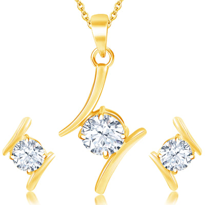 Pissara Modern Gold Plated Solitare Pendant Set For Women