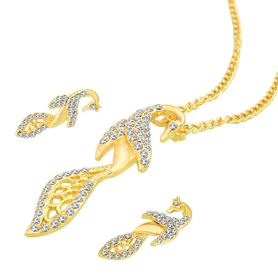 Sukkhi Delightly Peacock Gold Plated AD Pendant Set For Women-1
