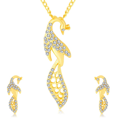 Sukkhi Delightly Peacock Gold Plated AD Pendant Set For Women