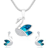 Sukkhi Eye-Catching Rhodium Plated Swan Charm Pendant Set For Women