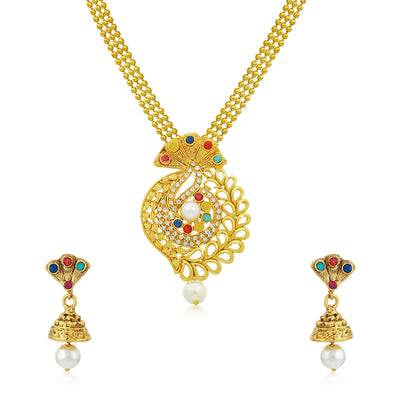 Sukkhi Glistening Gold Plated Pendant Set for Women