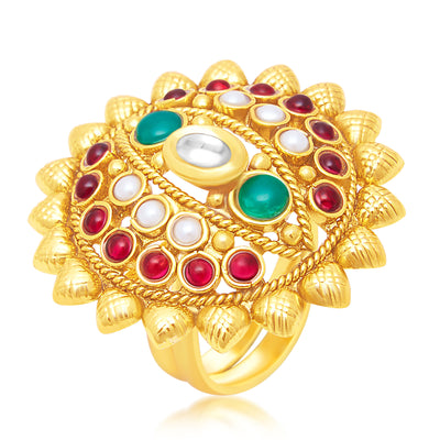 Sukkhi Brilliant Gold Plated Ring For Women