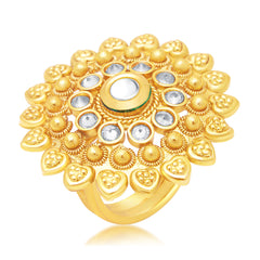 Sukkhi Wavy Gold Plated Ring For Women