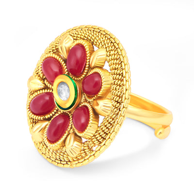 Sukkhi Pleasing Gold Plated Maroon Studded Stone Ring For Women-1