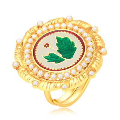 Sukkhi Blossomy Leaf Gold Plated Ring For Women