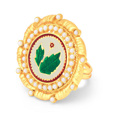 Sukkhi Blossomy Leaf Gold Plated Ring For Women-1