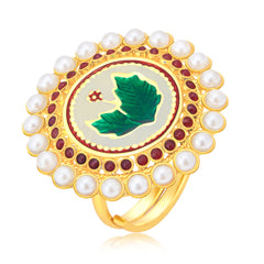 Sukkhi Wavy Leaf Gold Plated Ring For Women