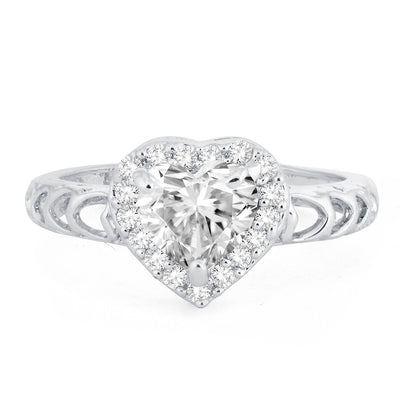 Sukkhi Trendy Royal Heart Solitaire Rhodium Plated Ring for women - 8