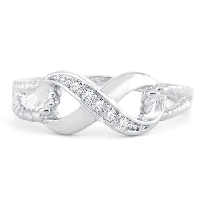 Sukkhi Fabulous Infinity knot Valentine Rhodium Plated Ring for women - 8