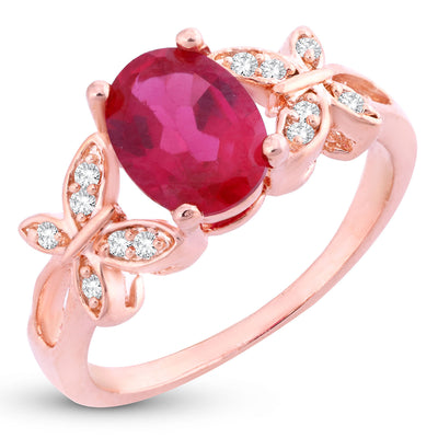 Sukkhi Dazzling Butterflies-On-Ruby Crystal Gold Plated Ring for women - 8