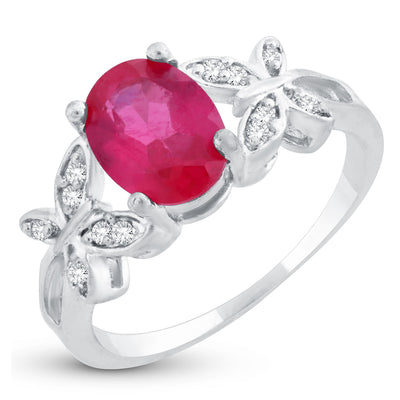 Sukkhi Stylish Butterflies-On-Ruby Crystal Rhodium Plated Ring for women - 8