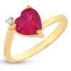 Sukkhi Dazzling Queen Heart Red Austrian Crystal Gold Plated Ring for women - 8