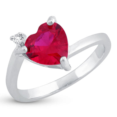 Sukkhi Exclusive Queen Heart Red Austrian Crystal Rhodium Plated Ring for women - 8