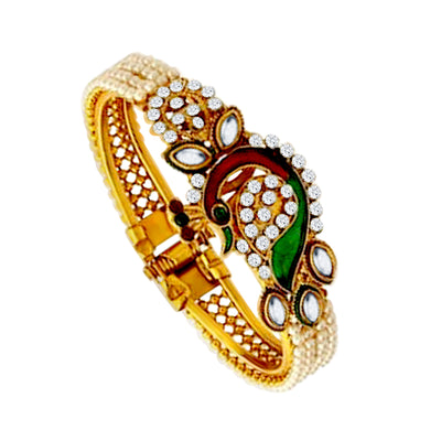 Shostopper Traditional Peacock Design Gold Plated Pearl Studded Kadas for Women Pack Of 2
