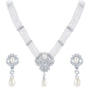ShoStopper Wavy Rhodium Plated Austrian Diamond Necklace Set