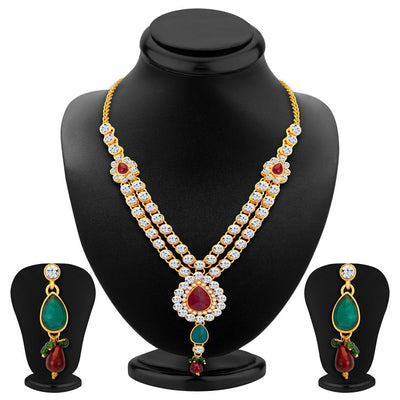 ShoStopper Cluster Gold Plated Austrian Diamond Necklace Set