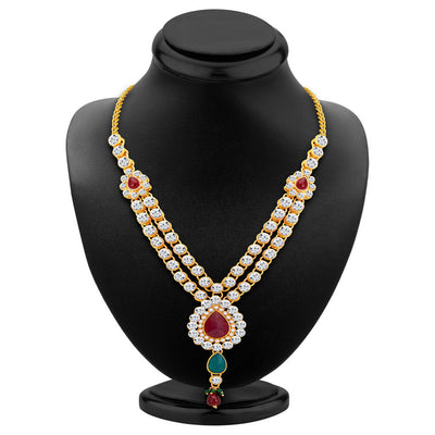 ShoStopper Cluster Gold Plated Austrian Diamond Necklace Set-1