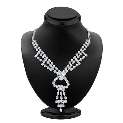 ShoStopper Fancy Rhodium Plated Austrian Diamond Necklace Set-1