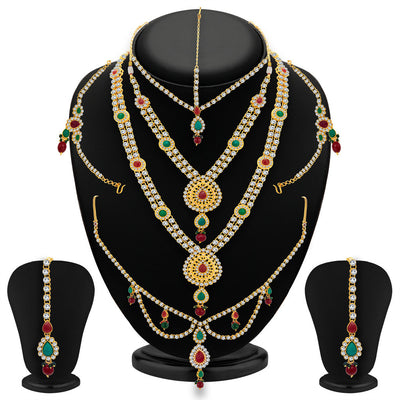 ShoStopper Luxirious Gold Plated Dulhan Necklace Set
