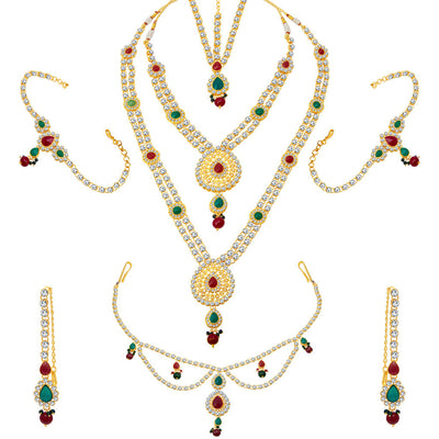 ShoStopper Luxirious Gold Plated Dulhan Necklace Set-1