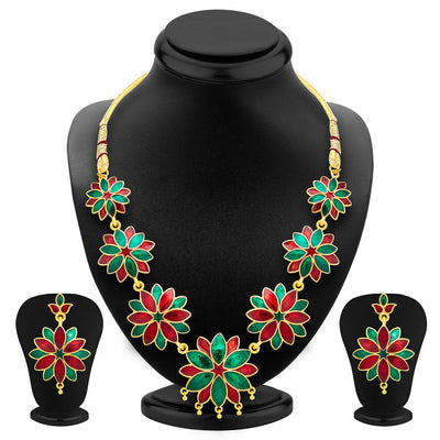 ShoStopper Blossomy Gold Plated Meenakari Necklace Set