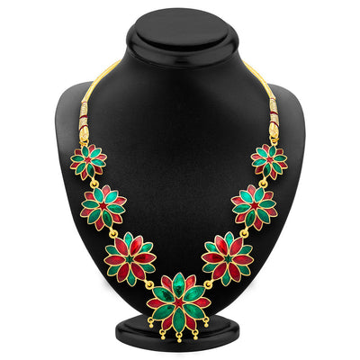 ShoStopper Blossomy Gold Plated Meenakari Necklace Set-1