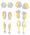Shostopper American Diamond Hoop Earrings For Women & Girls (Combo Of 6)