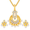 ShoStopper Delightful Gold Plated Austrian Diamond Pendant Set