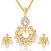 ShoStopper Artistically Gold Plated Austrian Diamond Pendant Set
