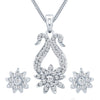 ShoStopper Dazzling Rhodium Plated Austrian Diamond Pendant Set