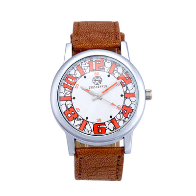 Shostopper Geometric White Dial Analogue Watch For Men - SJ60004WM