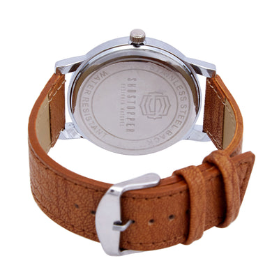 Shostopper Geometric White Dial Analogue Watch For Men - SJ60004WM-3