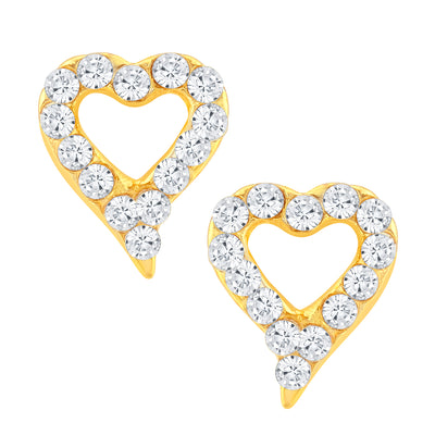 ShoStopper Heart Gold Plated Australian Diamond Earring SJ6102EN
