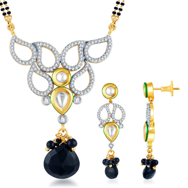 Pissara Kundan-CZ Gold and Rhodium plated Pretty Mangal Sutra Set