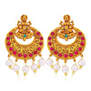 Sukkhi Classic Pearl Gold Plated Goddess Laxmi Chandbali Earring for Women