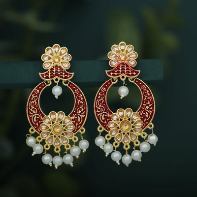 Sukkhi Adorable LCT Gold Plated Mint Collection Pearl Chandelier Earring for Women