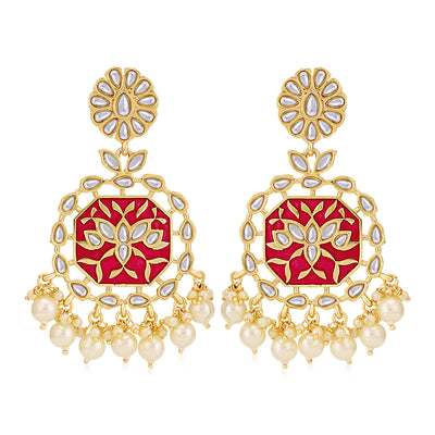 Sukkhi Dazzling Pearl Gold Plated Kundan Meenakari Chandelier Earring for Women