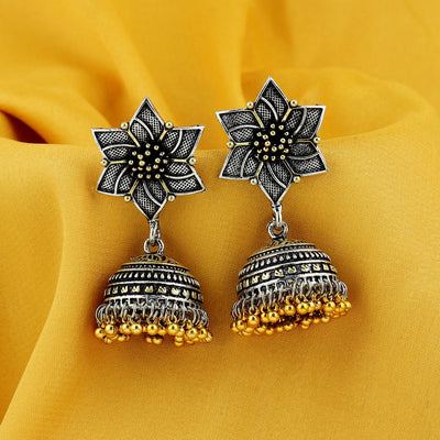 Sukkhi Floral Oxidised Jhumki Earring For Women