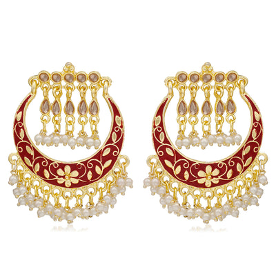 Sukkhi Lavish Pearl Gold Plated Floral Meenakari Chandbali Earring For Women
