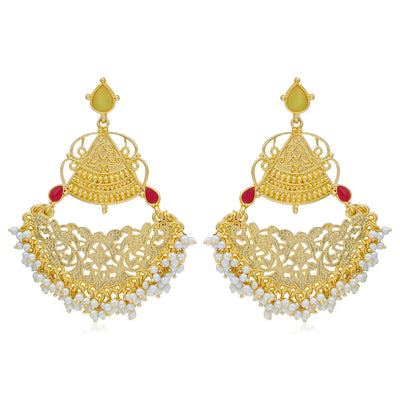 Sukkhi Glitzy Gold Plated Pearl Chandelier Earring For Women