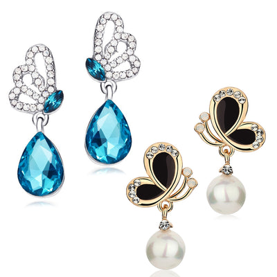 Sukkhi Fancy Rhodium and Gold Plated Crystal Butterfly Drop Earring Combo For Women