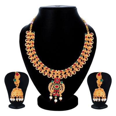 Sukkhi Astonish Gold Plated Pearl Collar Necklace Set for Women