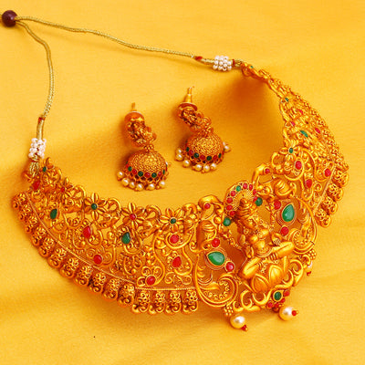 Sukkhi Stunning Gold Plated Temple Choker Necklace Set for Women