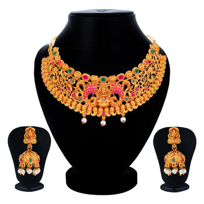 Sukkhi Incredible Gold Plated Temple Choker Necklace Set for Women