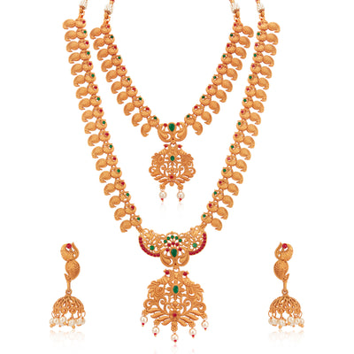Sukkhi Shimmering Paisley Gold Plated Long Haram Necklace Set for Women