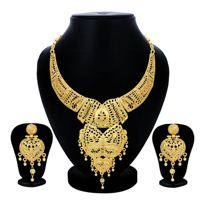Sukkhi Traditional 24 Carat Gold Plated Choker Necklace Set for Women